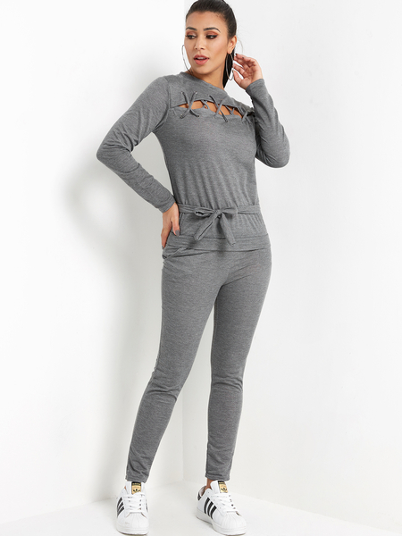 Grey Lace-up Front Crew Neck Self-tie Design Two Piece Outfit With Slip Pockets