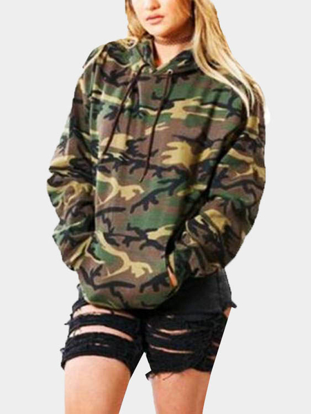 Camouflage Pattern Long Sleeves Hoodie
