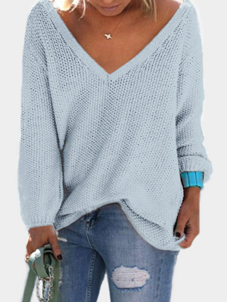 Blue Classic Design Loose Plunge Sweater