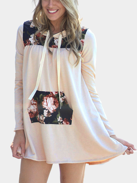 Khaki Pouch Pocket Hoodie Dress With Floral Print