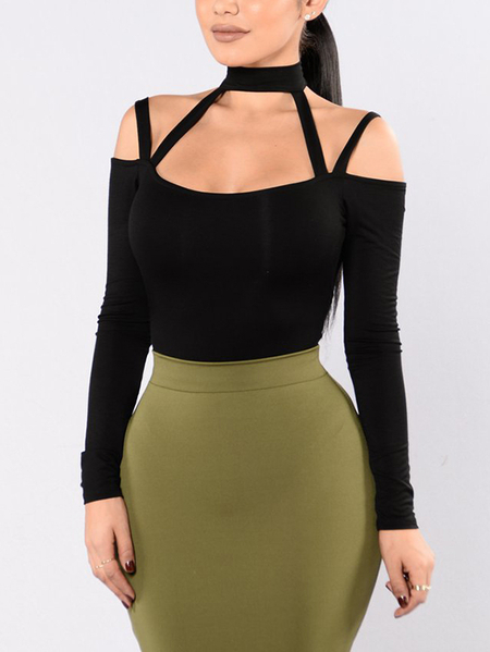 Black Sexy Cold Shoulder Long Sleeves Cut Out Bodysuit