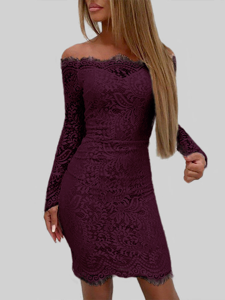 Burgundy Lace Details Off The Shoulder Long Sleeves Bodycon Dress