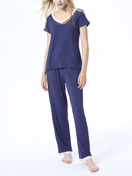 Blue V-neck Short Sleeves Basic Pajama Set