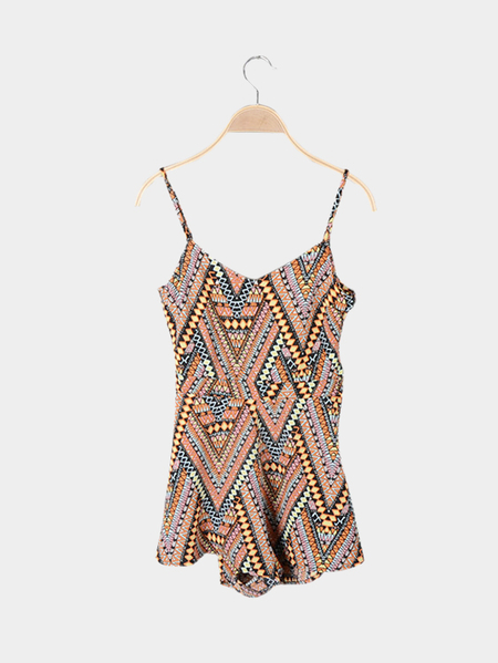Geometrical Pattern Sleeveless Cut Out Details Playsuit
