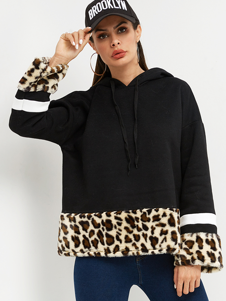 Color Block Black & Leopard Stripe Details Long Sleeves Hoodie