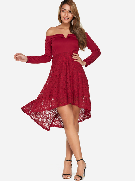 Red Lace Insert Off Shoulder Long Sleeves Irregular Dress
