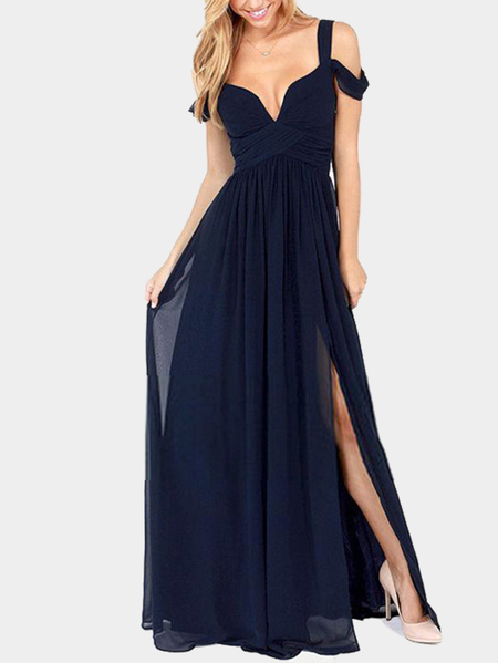 Sexy Navy Backless Dress With Cold Shoulder Design