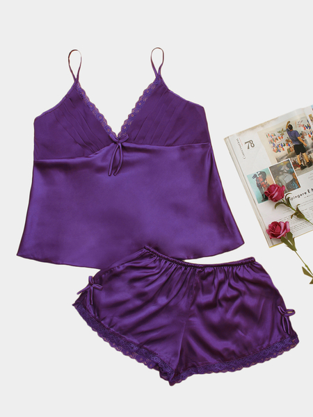 Purple V-neck Bow Knot Detailed Pajama Set