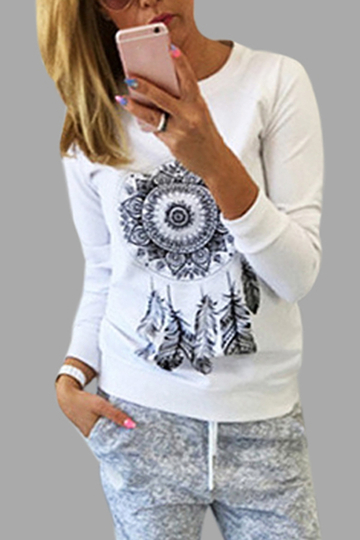 White Printed Pattern Crew Neck Long Sleeves T-shirt