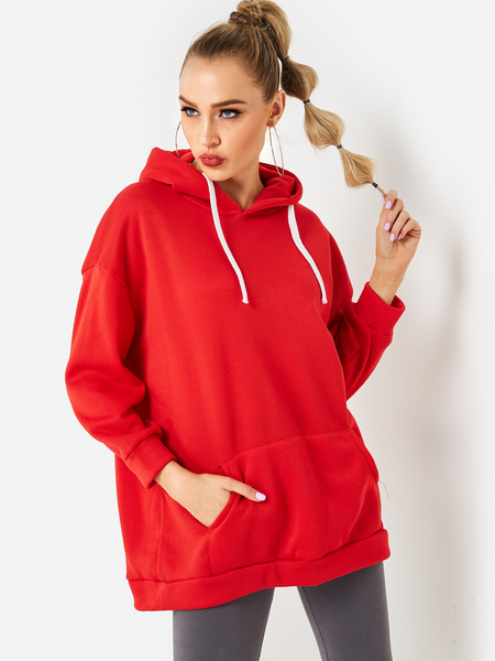 Red Hooded Design Plain Long Sleeves Hoodie With Slip Pockets