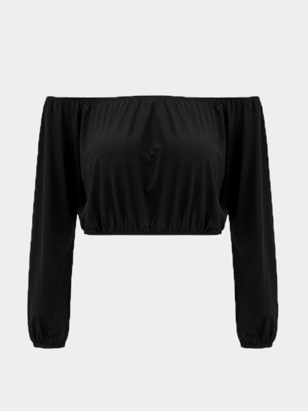 Black Sexy Off Shoulder Long Sleeves Crop Top
