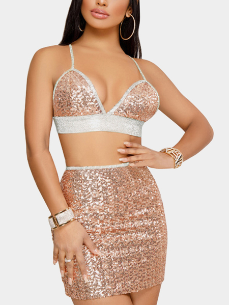 Apricot Sequins Embellished Spaghetti Bra & Midi Skirt Two Piece Outfits