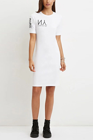 White T-shirt Dress with Letter Print
