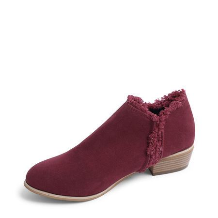 Burgundy Chunky Heel Causal ankle boots
