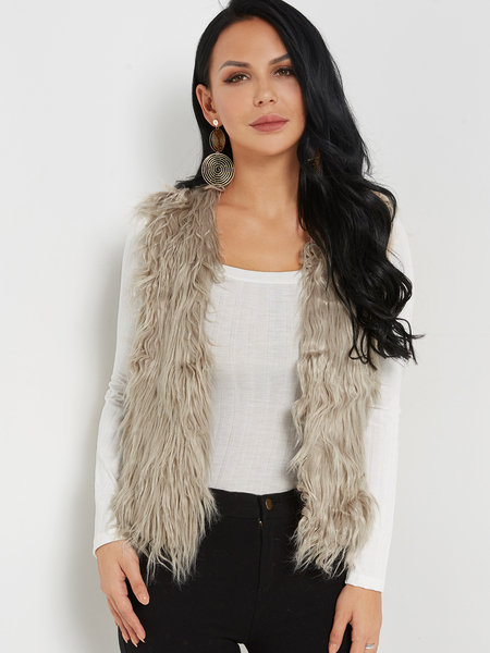 Light Khaki Fashion Sleeveless Artificial Fur Open Front Coat