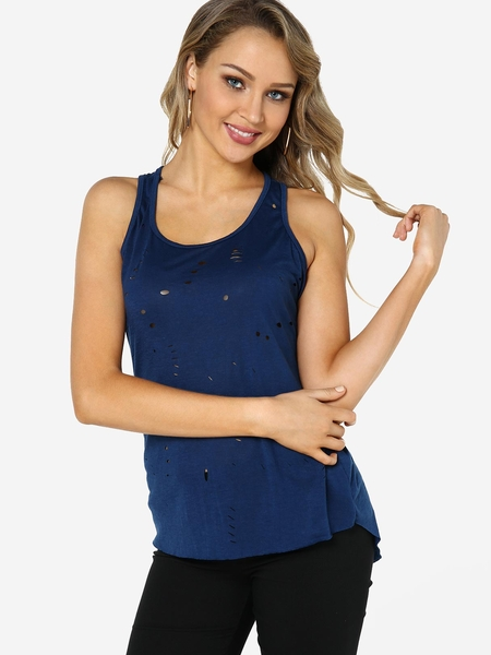 Navy Random Ripped Details Plain Scoop Neck Sleeveless Camis