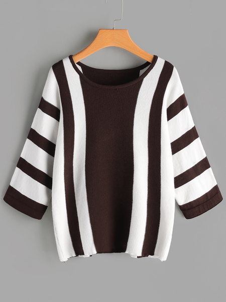 Round Neck Long Sleeves Sweaters with Color Matching