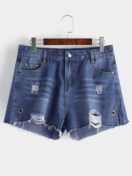 Plus Size Sky Blue Random Ripped Details Denim Shorts