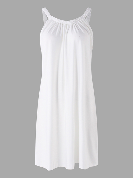 White Spaghetti Plain Round Neck Sleeveless Mini Dress