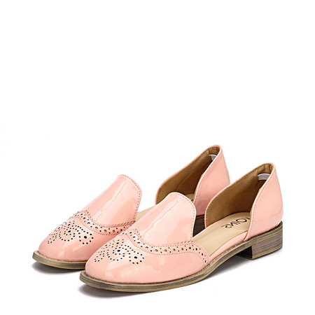 Pink Leather Look Round Toe Carving Slip-on Separate Shoes