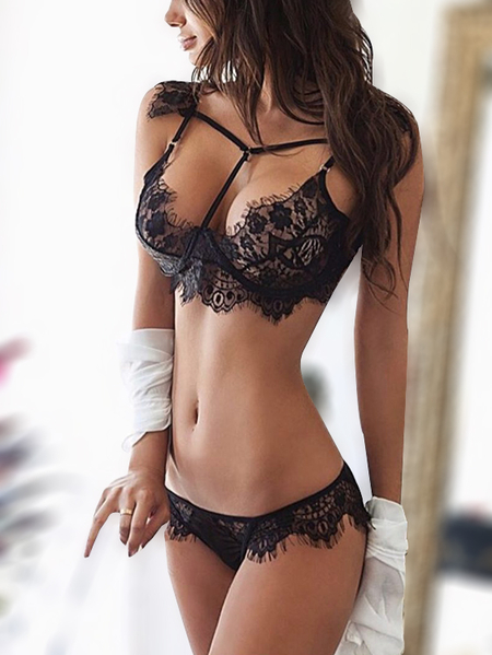 Black Lace Strappy Design Lingerie Sets