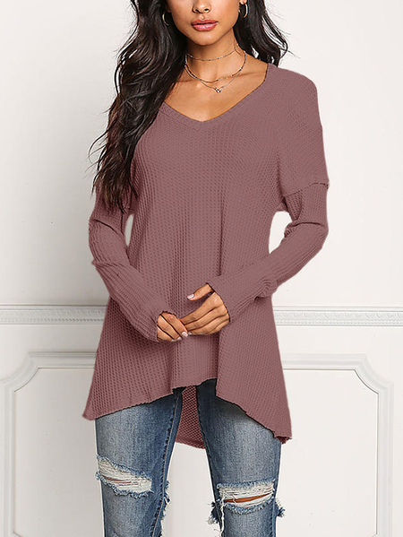 Rust V-neck Long Sleeves Knitted T-shirts