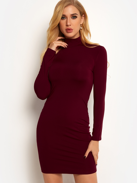 Burgundy Zip Design Perkins Collar Long Sleeves Mini Dress