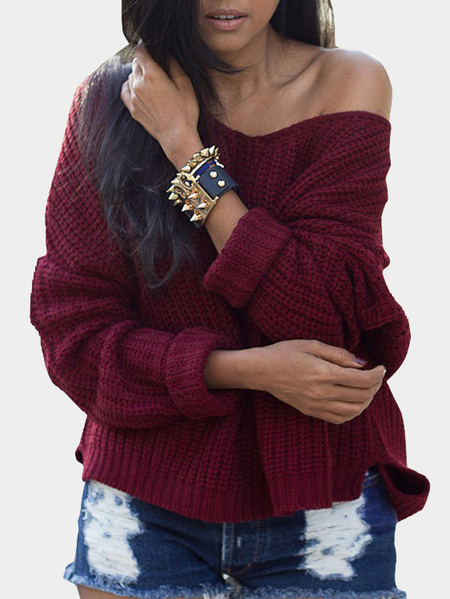 Ladies Burgundy V Neck Long Dolman Sleeve Top Knit Sweater