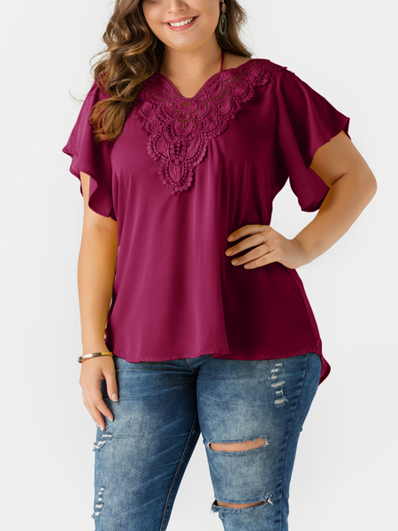 Plus Size Burgundy Self-tie Bell Sleeves Lace Insert Blouse