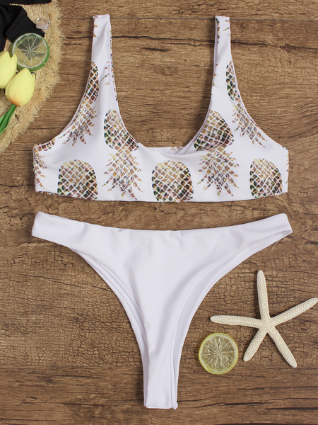 White Pineapple Print Scoop Neck Sleeveless Bikini