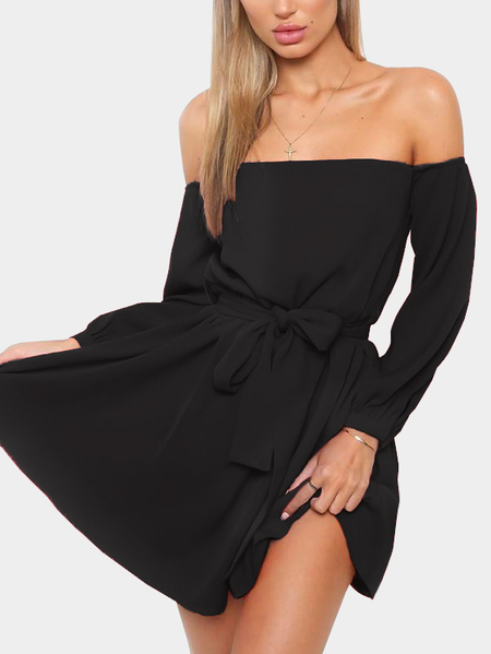 Black Lace-up Design Off The Shoulder Lantern Sleeves Sexy Dress