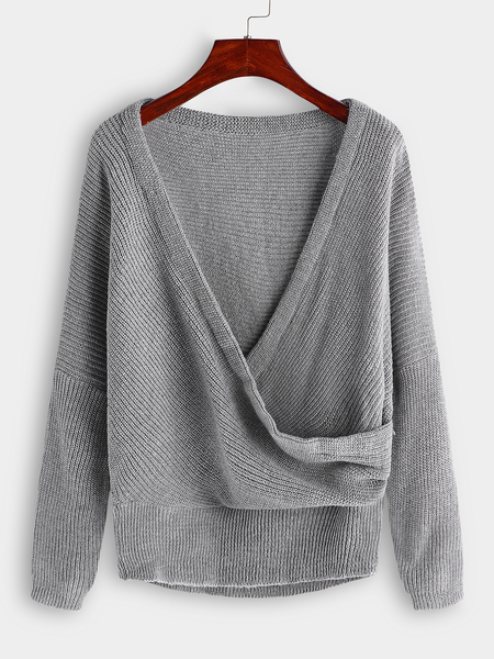 Grey Crossed Front Design V-neck Dolman Sleeve Sweater