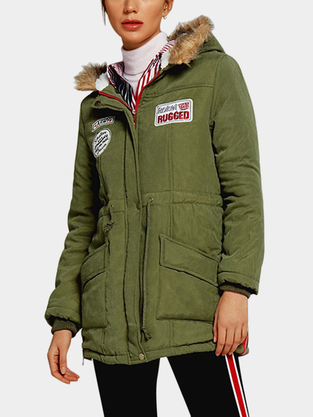 Army Green Fur Collar Pocket Design Hooded Parkas