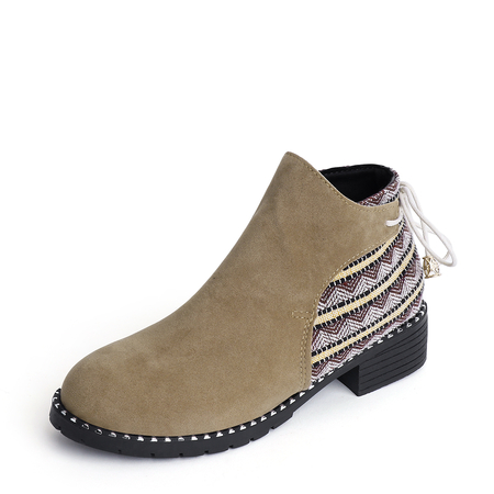 Yoins Khaki Suede Stitching Design Ankle Boots