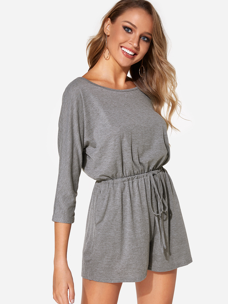 Grey Round Neck 3/4 Length Sleeves Drawstring Waist Playsuit