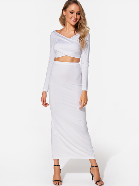 White Zip Design Crossed Front Long Sleeves Slit Hem Two Piece Outfits