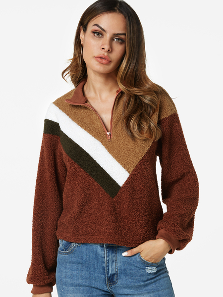 Brown Color Stitching Stand Collar Long Sleeves Faux Fur Sweatshirt