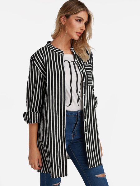 Grey Stripe Patch Pockets Single Breasted Design Long Sleeves Shirt