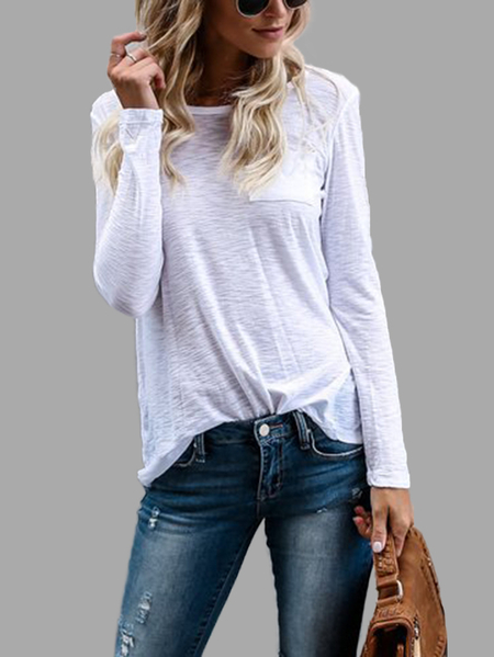 White Round Neck Long Sleeves T-shirts with Front Pocket