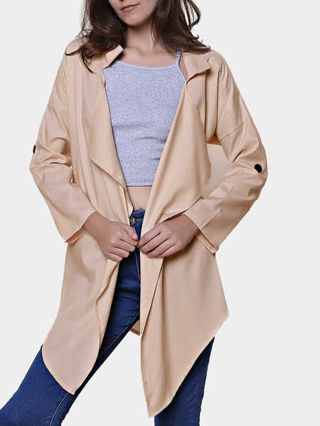 Lapel Collar Trench Coat with Irregular Hem