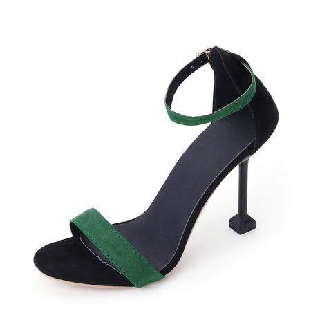 Green Frosted Leather Ankle Strap Heeled Sandals