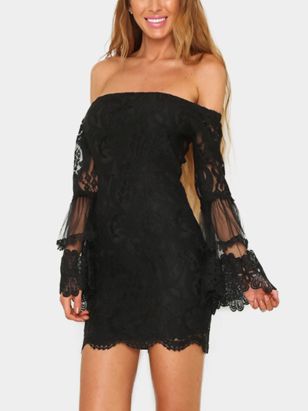 Black Off Shoulder Bell Sleeves Stitching Lace Dress
