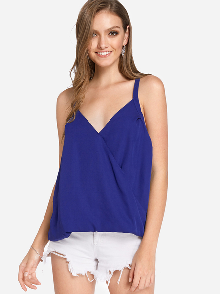 Blue Crossed Front Design Plain V-neck Sleeveless Camis