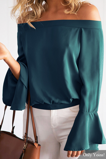 Cadetblue Sexy Off-shoulder Flared Sleeves Blouse