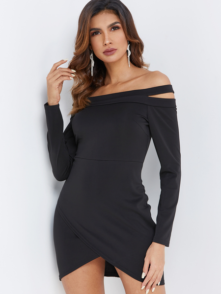 Black Wrap Design Off The Shoulder Long Sleeves Mini Dress
