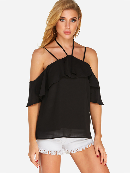 Black Tiered Design Halter Design Short Sleeves Blouse