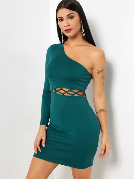Green Hollow Out One Shoulder Long Sleeves Dress