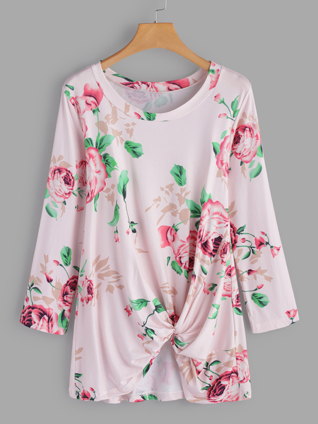 Pink Crossed Front Design Floral Print Round Neck Long Sleeves T-shirts