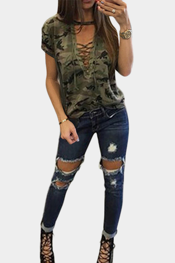 Green Sexy Camouflage Pattern V-neck Lace-up Front T-shirt