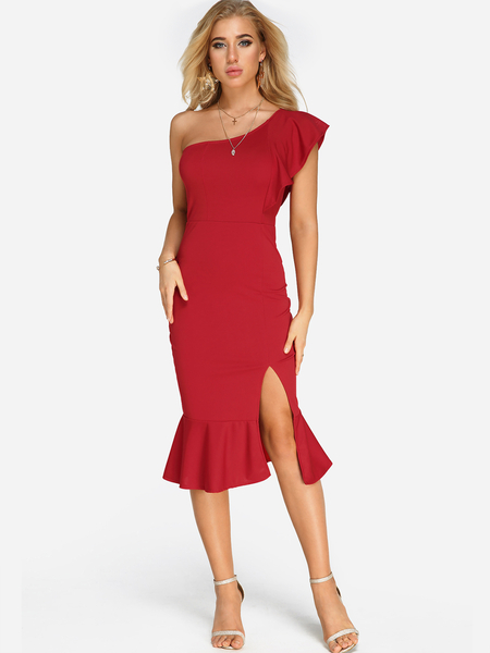 Red Sexy Slit Design One Shoulder Flounced Hem Midi Dress